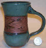 hand made pottery mug USA Pine design