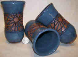 Sun design ------Blue glaze