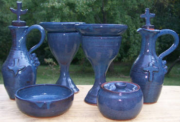 Custom red stoneware pottery Communion Set made in the USA