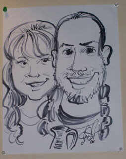 Caricature of the artists Jeff and Maggie